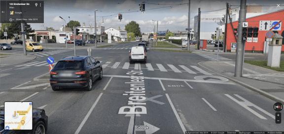 Der Radweg bei der Kreuzung Breitenleer Straße x Zwerchäckerweg in der Donaustadt. (c) Google Maps | Screenshot: 1000things