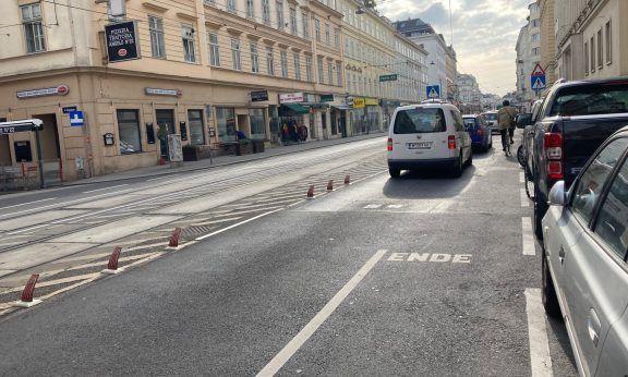 Der Radweg auf der Inneren Währingerstraße endet (c) Alissa Hacker| 1000things
