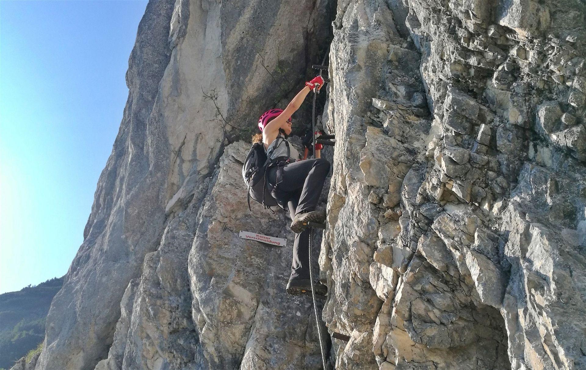 Erstes C/D-Stück Klettersteig