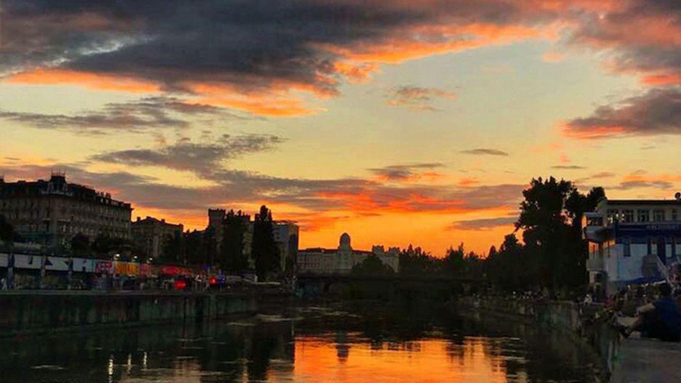 Sonnenuntergang am Donaukanal